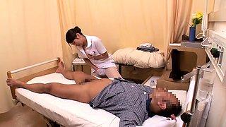 Insatiable Japanese nurse satisfies her desire for cock