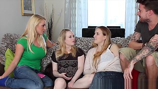 British CFNM femdom shares cock with friends