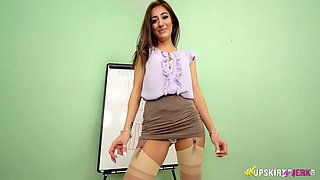 Lustful office chick shows her pussy upskirt during the presentation