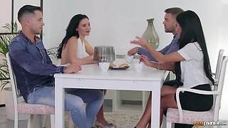 Apolonia and Gina enjoy a hot cock bouncing session with guys