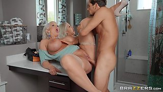 Sexy cougar drives a lot of young cock up her wet holes