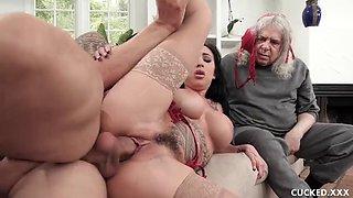 Big tit lily lane cucks her husband by fucking the chauffeur