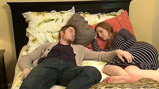 Nasty mature Erica Lauren fucks a hot guy next to his sleeping GF