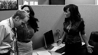CFNM office femdoms humiliate voyuer in trio