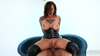 Slag in thigh high boots pussy plowed