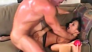 Sex toy and big dick are perfect for double penetration