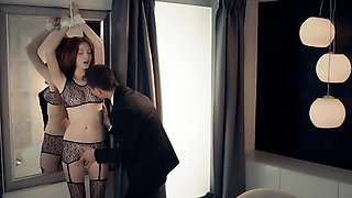 Red head tied up and fucked with passion