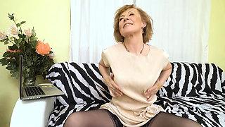 A warm jizz on horny granny Dana B's titties