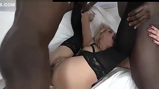 White Whore Double Anal DAP Two BBC Interracial Threesome