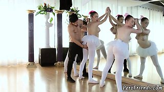 Blonde teen gym and beautiful hot Ballerinas