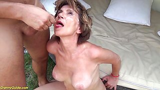 Kinky 76 years old step mom destroyed by big dick