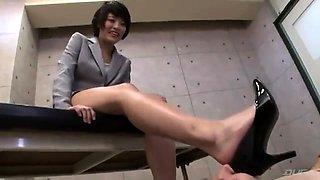 Elegant Korean lady makes her slave lick her lovely feet
