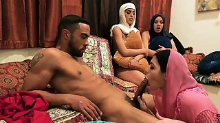 Sex party orgy Hot arab dolls try foursome