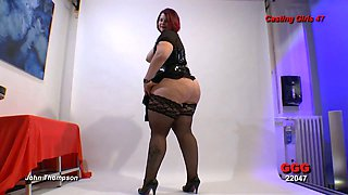 Chubby chick shows off her cellulite ass in doggy style pose