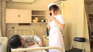 Innocent looking Japanese naughty nurse screwed hard