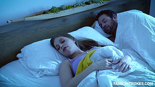 Quickie fucking next to a sleeping husband - Britney Amber