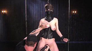 Natural busty slave gets anal dildo