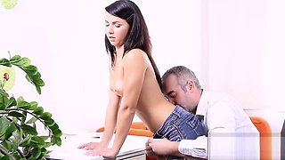 Pretty schoolgirl gets teased and banged by her aged schoolteacher