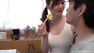 after the tit job Aoi Yurika can't wait to eat friend's hard shaft