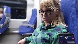 Remote control my orgasm in the train public female orgasm