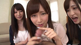 Three amateur Japanese babes giving blowjobs to a lucky guy