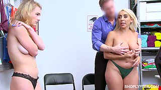Pallid Kylie Kingston shares dick of horny shop manager for wild MFF