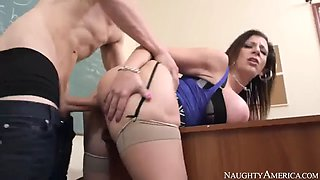 Teacher sara jay fucking in the classroom with her big tits