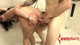 Spanked brunette is punished hard by two kinky perverted in masks