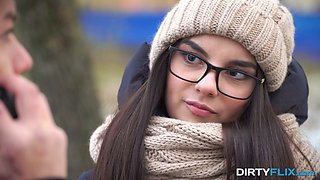 Shy nerdy brunet Bell Knock gives a blowjob and gets laid on the first date