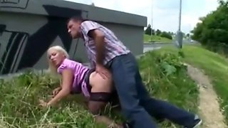 crazy busty milf used hard by stranger outdoor