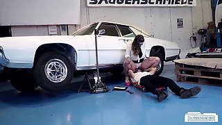 BUMS BUERO - Tattooed German babe fucked by car mechanic