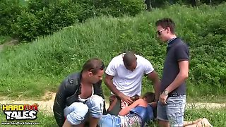 Group sex with squirt in the woods