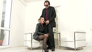 Candy Alex gets talked into riding a long cock while she moans