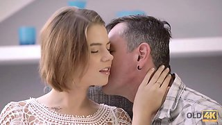 OLD4K. Amazing sex with teen chick helps old guy feel younger again