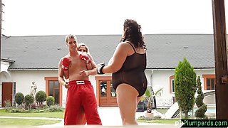 Kinky Chubby femdom duo dominate submissive guy