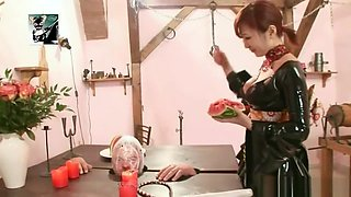 Japanese Dominatrix abuses male slave humiliates degrades him