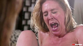 Beautiful blonde Kristen Scott is licking pussy in the massage parlor