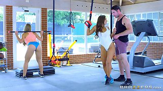 Abigail and Nicole are finally getting bonked in their gym!