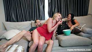 Lusty auburn housewife with sexy rack Adira Allure is fucked on the sofa