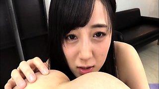 Pretty Japanese girl fucks a dildo and sucks a hard dick