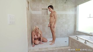 busty blonde stepmom banged in the shower