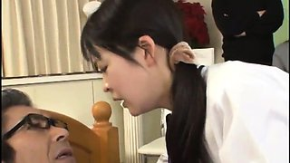 Cute Japanese teen with lovely boobs has sex with an old man