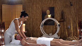 Massage Rooms Oily cock massage with hot Romanian