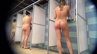 Desirable amateur girls taking a shower on hidden cam