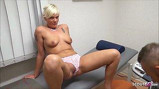 German Nurse Stacy help 2 Guys to Cum in Semen Bank with Sex