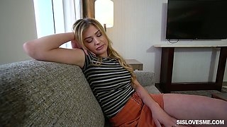Sleeping gal Serena Avery flashes her tits while dude wanks himself
