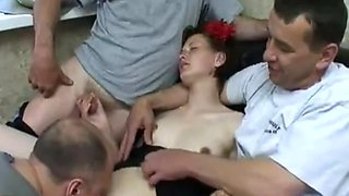 Old Russian Guys Gangbang Young Euro Babe