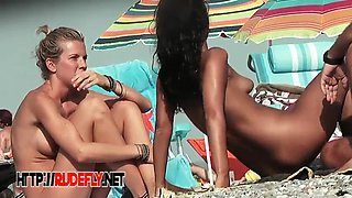 Horny teen with nice tits gets her panties off on the beach