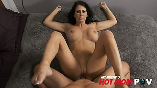 Seductive busty mommy Reagan Foxx gives her head and rides a big dick face to face