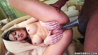 Petite asian Sayeh gets nailed by black stud